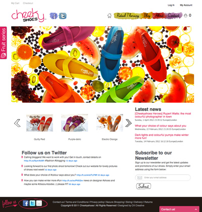 Cheekyshoes web design