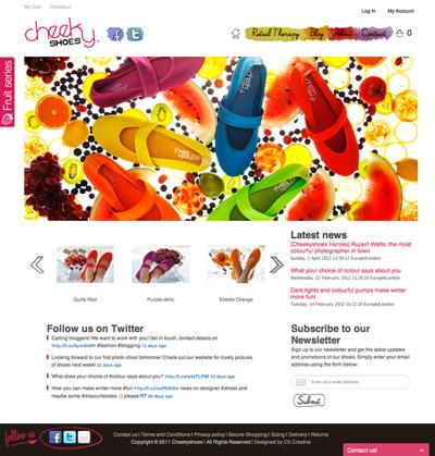 Cheekyshoes web design