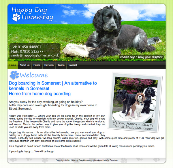 Our work ck creative for Dog boarding website