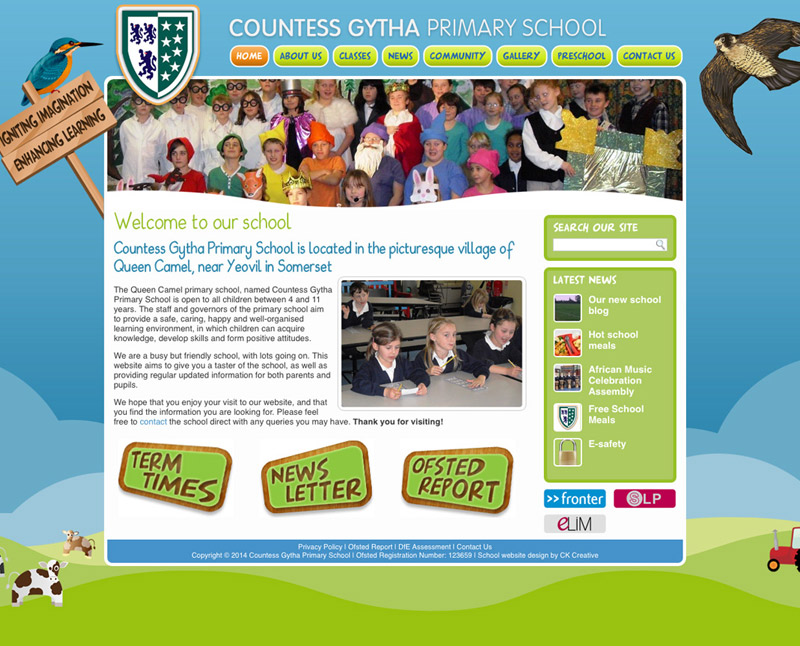Primary School Website Design For Countess Gytha Ck Creative